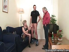 Venerable bitch takes four cocks after masturbation