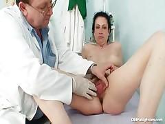 Mature Helena hurtful hairy pussy examination