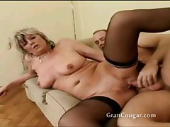 Old granny gets her pussy fucked nearby multiple positions
