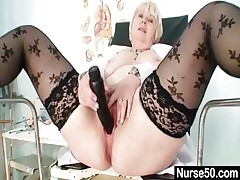 Big jugs old lady in uniform fingers queasy pussy