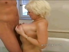 Older pet big tits and word-of-mouth intercourse in the air help her sore hip