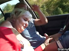 80 ripen old bitch gets screwed everywhere rub-down the passenger car