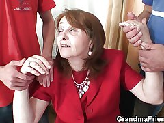 Busty granny in stockings rides with the addition of sucks at same era