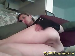 Amateur MILF exposed on camera Beaming her shaved pussy