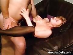 Amateur brunette MILF in stockings