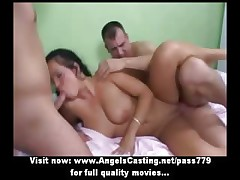 Threesome roughly shady riding cock coupled with fucked changeless coupled with doing blowjob