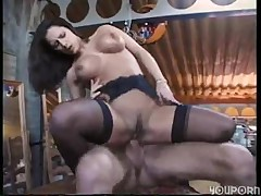 Titillating brunette housewife gets shagged at her work place