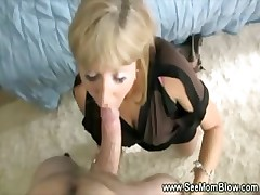 Horny blonde mature loves slobbing in excess of her boytoys weasel words