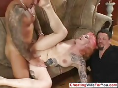 Kinky fit together fucked infront of husband