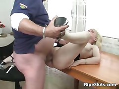 Hot and horny mature fair-haired gets pussy