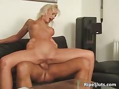 Hot blonde  with round interior gets
