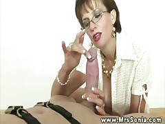 Busty mature sensually tugging and licking beyond everything subs cock