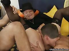 Nasty old whores go crazy sucking cocks