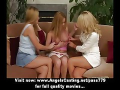 Amateur remarkable three blonde lesbians undressing and kissing on rub-down the love-seat