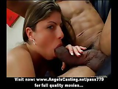 Gorgeous milf in bootlace toys pussy with an increment of does blowjob for black cock