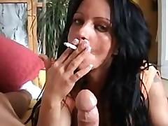 Smoking MILF give bj and fucks