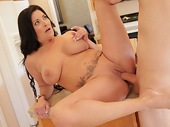 Hot mature housewife tittie fucks her challenge