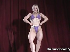 blonde fbb naked flexing muscle