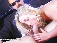 Busty blonde overprotect suck and fuck unearth for fresh cum on backseat