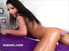 Hot brunette lady up big tits fucks her ass and pussy up dildo