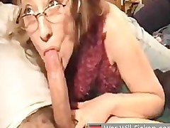 Grown up wife blows her husband and gets a load in her frowardness