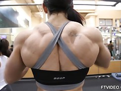 Carla Rossi ripped bodybuilder back at gym