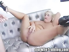 Beauteous mature wife on slut training
