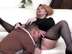 Paulina and Adrian of age pantyhose show