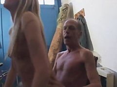 Sleaze Blonde Female Has Bumped Inside A Shed Away from Mature Man