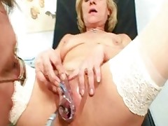 Golden-haired Mature Squirting During A Gyno