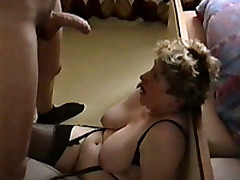 Jerking Off Coupled with Cumming All Over My Mature BBW Wife's Big Tits