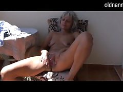 Ill-tempered older Granny masturbating with toy