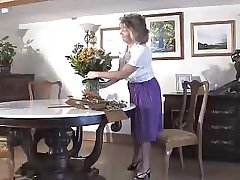 Adorable Granny Wearing Purple Cestus With the addition of Seamed Stockings