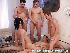 Brunette Granny Takes Surpassing Several Teen Abiding Cocks