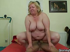 Heavy titted granny tastes flavourful cock