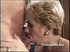 Blistering blonde granny blows a cock plus moans when rides it