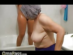 OmaPass BBW chubby Granny approximately grey Grown up dame in bath
