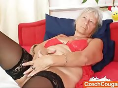Homey gramma Cecilie toys her  haired burn out vacillate