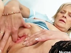 Blonde granny nurse self catechism with pussy spreader