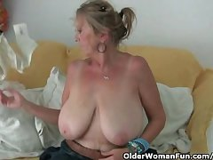 Granny with obese tits masturbates not far from pantyhose