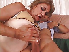 Granny enjoys a big chubby cock