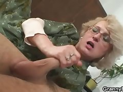 Comeuppance granny is pleasing an young stud