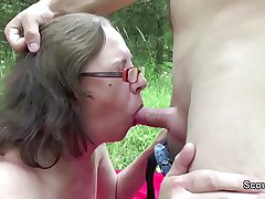 73yr grey Granny Sweet-talk Fuck by 18yr grey german boy outdoor