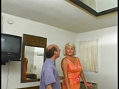 Blonde granny with a shaved pussy loves crimson when younger guy fucks will not hear of ass