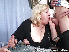 Blonde grandma gets slammed by four cocks