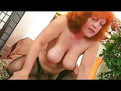 Redhead Granny nearly Stockings Sucks increased by Fucks