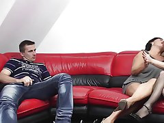 BBW-Granny in Threesome encircling young Clasp