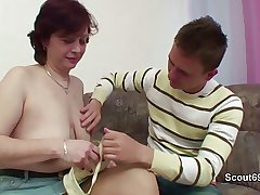 German Mommy teach young boy how to fuck