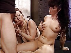 Two mature ladies, twosome lucky guy