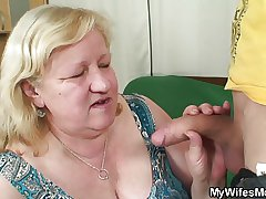 Slim ladies' fucks huge granny inlaw